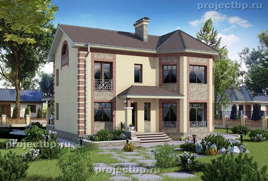 Проект небольшого двухэтажного дома с эркером 145-B